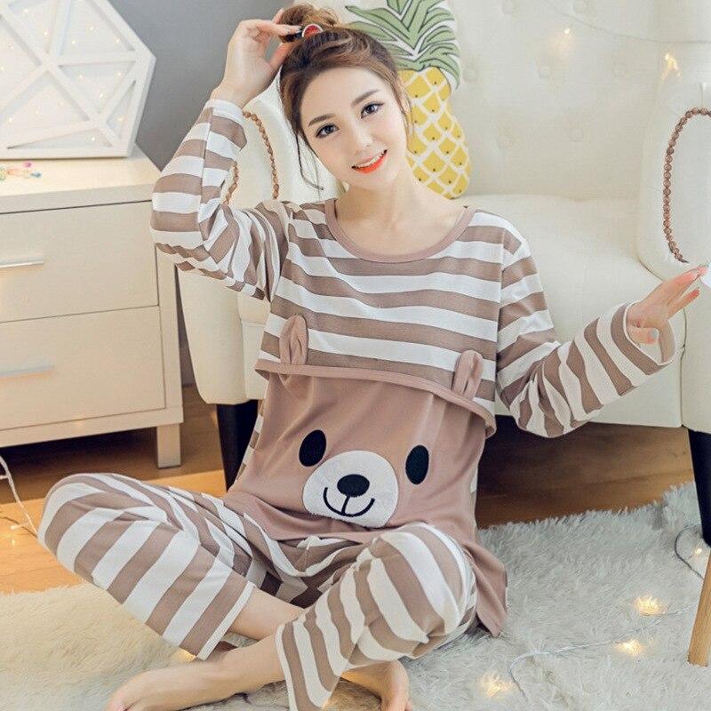 Spring Autumn Maternity Cotton Long Sleeve Nursing Pajama Pregnant Women Homewear Sets Breast-feeding Underwear Suits