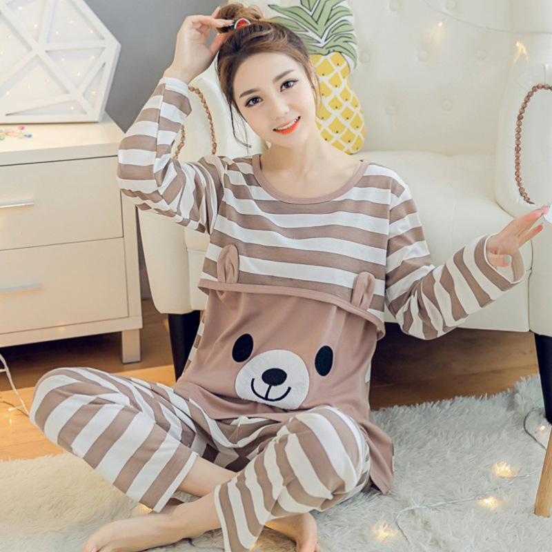 Spring Autumn Maternity Cotton Long Sleeve Nursing Pajama Pregnant Women Homewear Sets Breast-feeding Underwear Suits