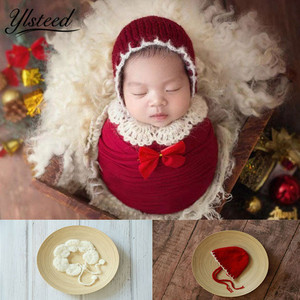 Ylsteed Newborn Photography Props Baby Christmas Hat Shawl Set Crochet Newborn Outfits Baby Photo Props Infant Pic Home(China)