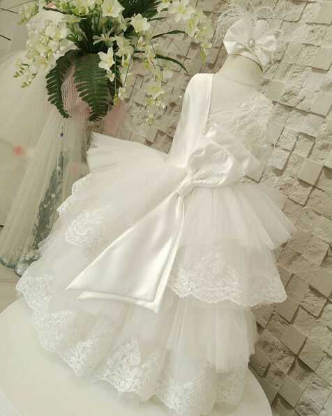 Lovely white lace appliques flower girl dresses cupcake first communion dress ball gowns for little kids cute pink lace appliques flower girl dresses for little kids first communion ball gowns beautiful mid calf pageant prom frocks