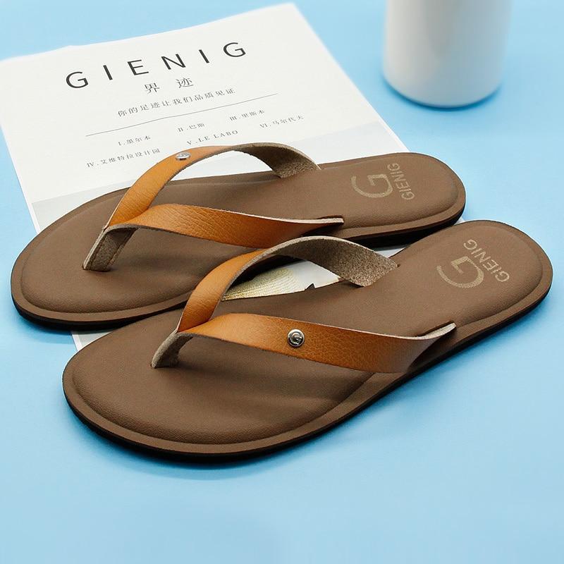 GieniG 2018 cuero mujeres verano chanclas zapatillas de tacón bajo - Zapatos de hombre - foto 4
