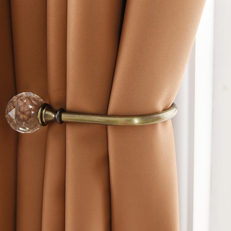 1 Pair Modern Luxury Curtain Crystal Metal Holder Hooks