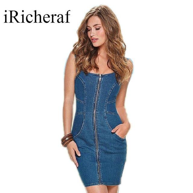 978f6a9c3a Blue Denim Dress Women O-neck Sleeveless Front Zipper Slim Sexy Off Shoulder  Mini Wrap Dresses Summer Vestidos Jeans Casual Hot