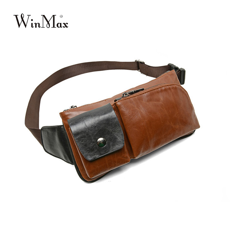 Winmax Laptop Leather Waist Packs For Men Fanny Pack Belt Bag Phone Pouch Bag Quality Travel Waist Pack Male Crossbody Bag Pouch