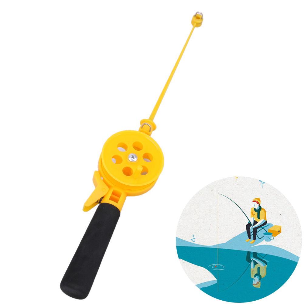 Portable mini ice fishing rod 33cm plastic children kids for Kids fishing poles