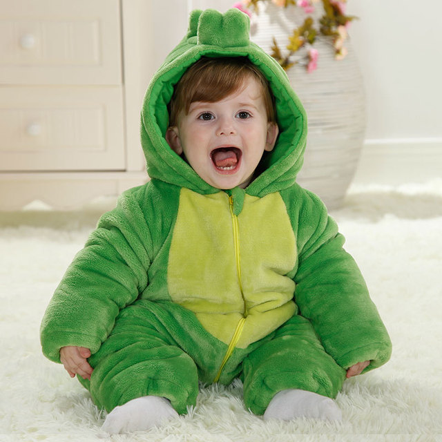 Fashion high quality baby boy clothes winter 2017 flannel baby dinosaur costume