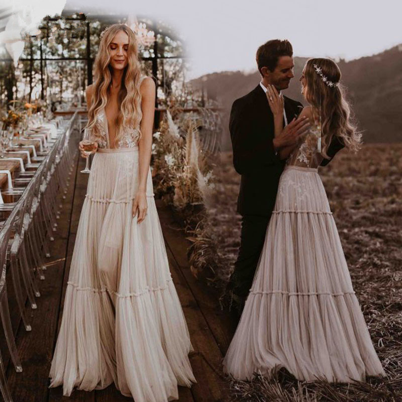 Wedding Dresses Boho 2019 Deep V-Neck Nude Champagne Dreamy Bohemian Bridal Gowns Sexy Beach Vestido De Noiva