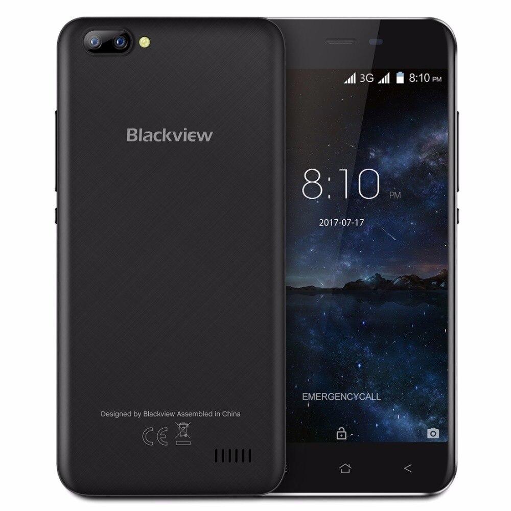Blackview A7 Android 7.0 Smartphone 5.0 Pouce MTK6580A Quad Core up à 1.3 GHz 1 GB RAM 8 GB ROM 2500 mAh 3G Mobile Téléphone 3 caméras