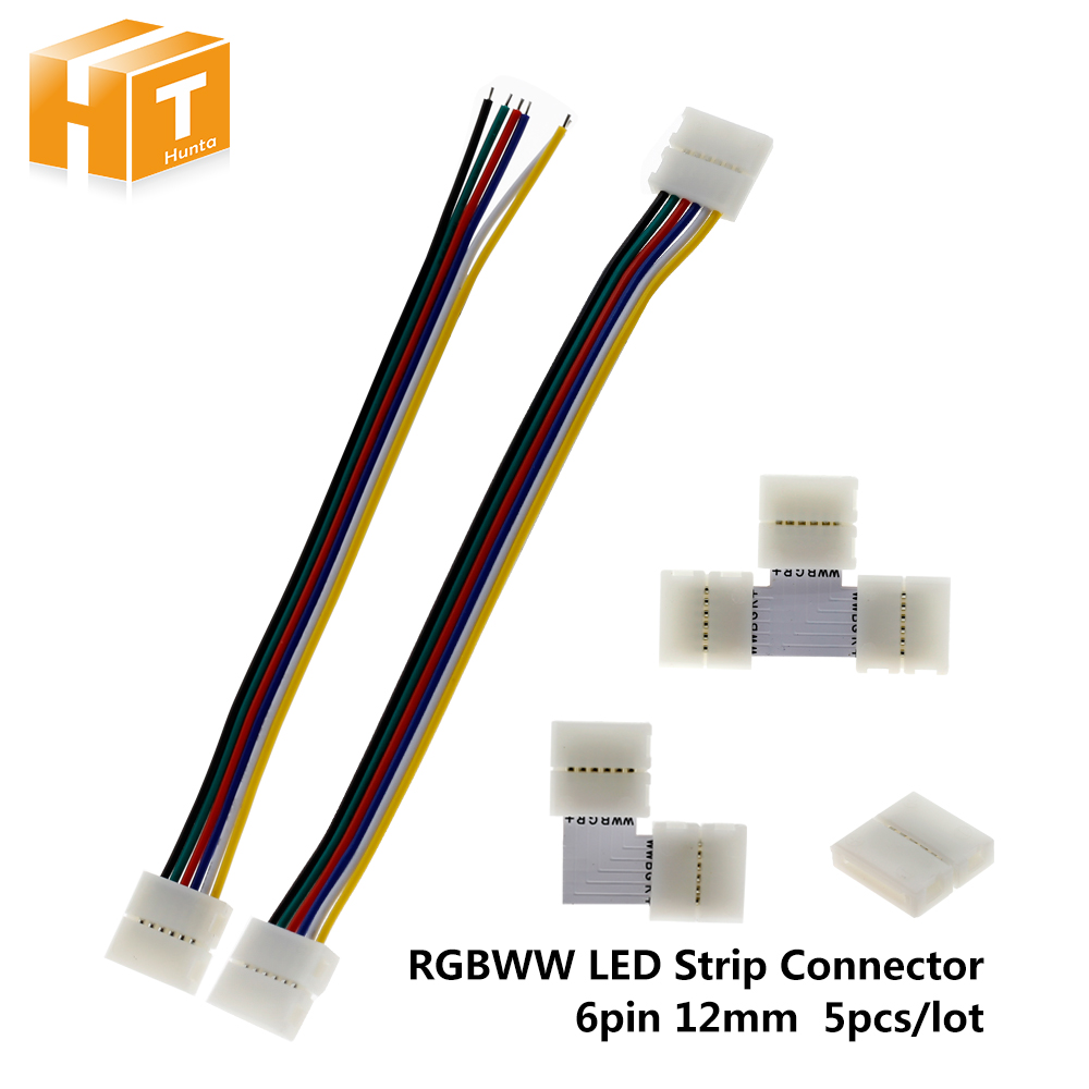6Pin LED Strip Connector For RGBCCT LED Strip Free Welding Connector 5pcs/Lot.