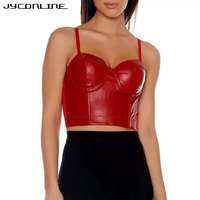 JYConline Fashion Crop Top Women Sexy Backless PU Leather Cropped Feminino Camisole Women Elegant Cropped Beachwear