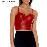 JYConline Fashion Crop Top Women Sexy Backless PU Leather Cropped Feminino Camisole Women Elegant Cropped Beachwear