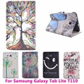 Tree Pencil Flip Leather Tablet PC Case for Samsung GALAXY Tab 3 Lite T110 Cover Anti-Dust Shockproof Shell Protective Skin Bag