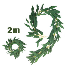 2m Simulation Willow Branches Wicker Fake Green Plants Cane Home Decoration Lot