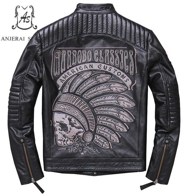 Plus Size genuine Retro-made real cow leather jacket men black brown punk label Embroidered Skulls Motorcycle bomber jacket coat