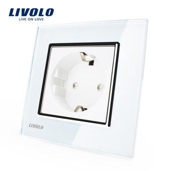 Livolo eu standard power socket white crystal glass panel ac 110 250v 16a wall power socket.jpg 350x350