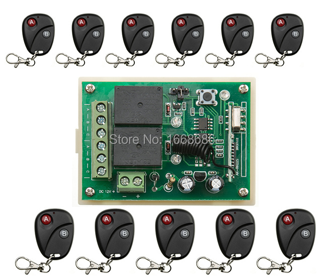 New DC12V 2CH RF Wireless Remote Control Switch System Transmitter with Two-button Receiver  /lamp/ window/Garage Doors shutters new restaurant equipment wireless buzzer calling system 25pcs table bell with 4 waiter pager receiver