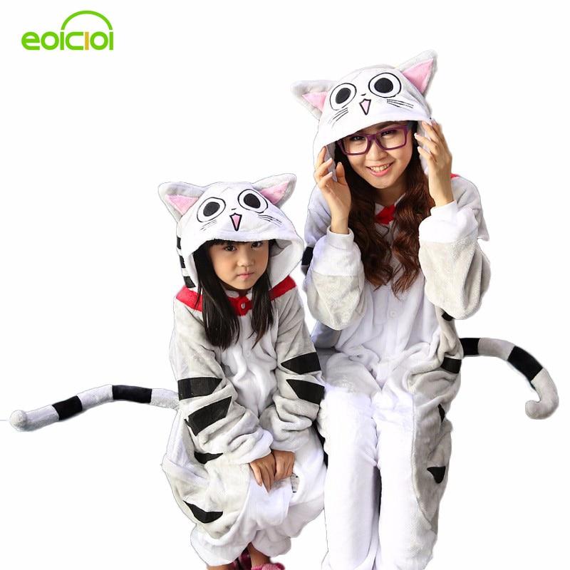 Зимняя Фланель Семья мама и дети женский единорог панда животных пижамы один кусок девушка мальчик пижамы женщина с капюшоном домашней одежды