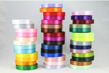 100pcs/lot 25yard length 15mm width double sided satin ribbon  wedding party diy package craft solid mixed color wa013-15mm