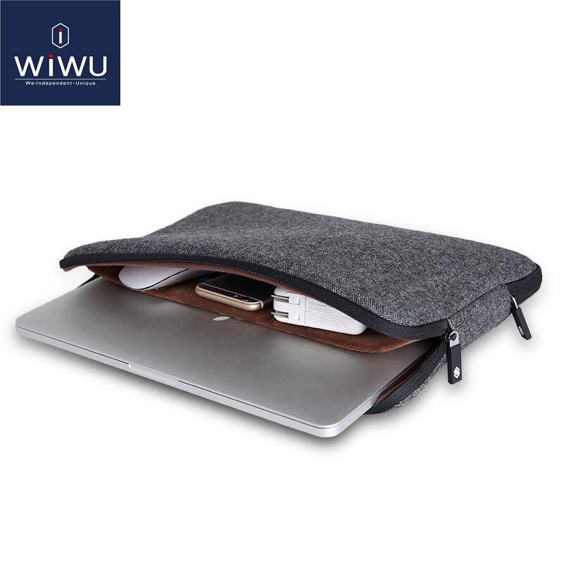 WIWU 2020 Laptop Sleeve 15.6 inch Soft Felt Shockproof Laptop Case for MacBook 11 12 Inner Pocket Bags 15.6 Tablet Bag 11.6(China)