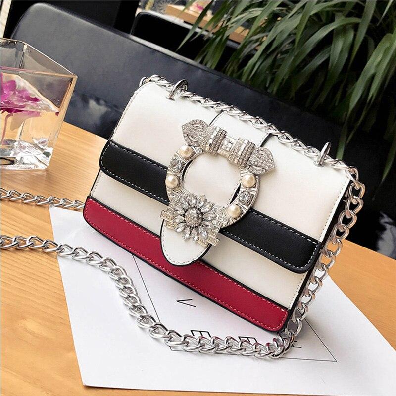 2017 New Woman Fashion Handbags Chain Patchwork Messenger Bags Crossbody Shoulder Bag Rhinestone Female Simple Bolsa