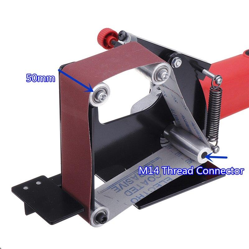 Large Size Angle Grinder Belt Sander Attachment 50mm Wide Metal Wood Sanding Belt Adapter For 115 125 Angle Grinder New