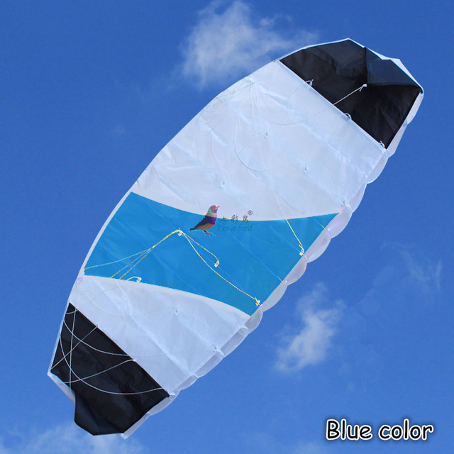Outdoor Fun Sports 1.4m Power  Dual Line Stunt Parafoil Parachute Rainbow Sports Beach Kite For Beginner