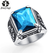 Jiayiqi Vintage CZ Stone Mens Rings Punk Stytle 316L Stainless Steel Ring for Men Jewelry High Quality With Crystal