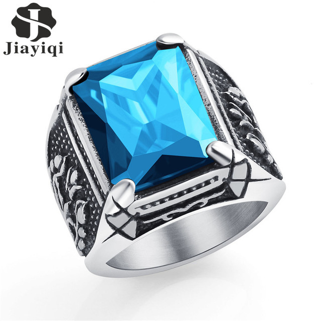 Jiayiqi Vintage CZ Stone Men's Rings Punk Style 316L Stainless Steel Ring for Me