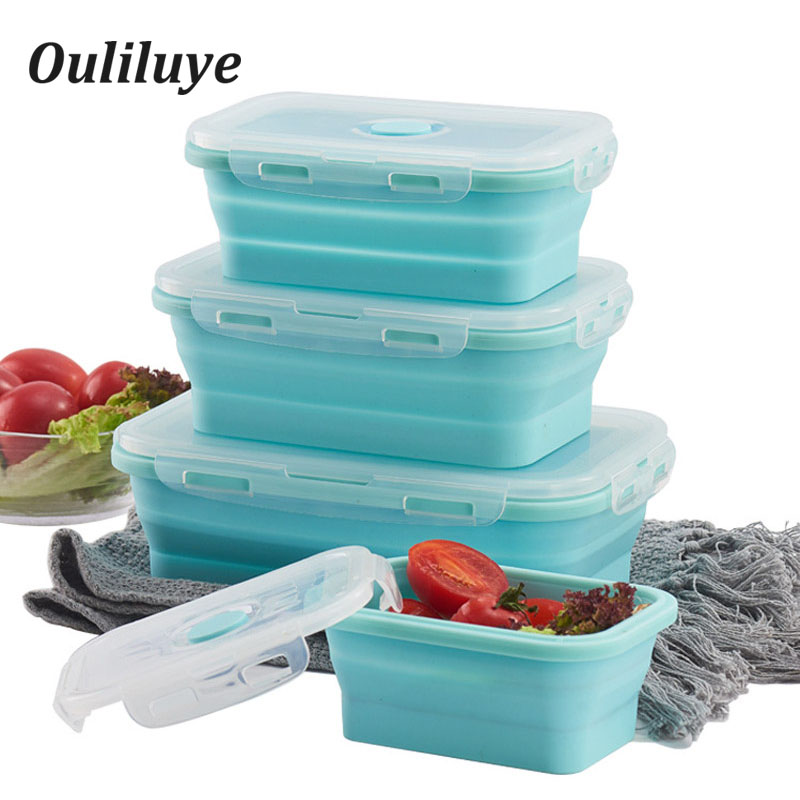 3PCS/Set Silicone Bento Box Storage Food Container Lunchbox For School Children Outdoor Camping Collapsible Lunch