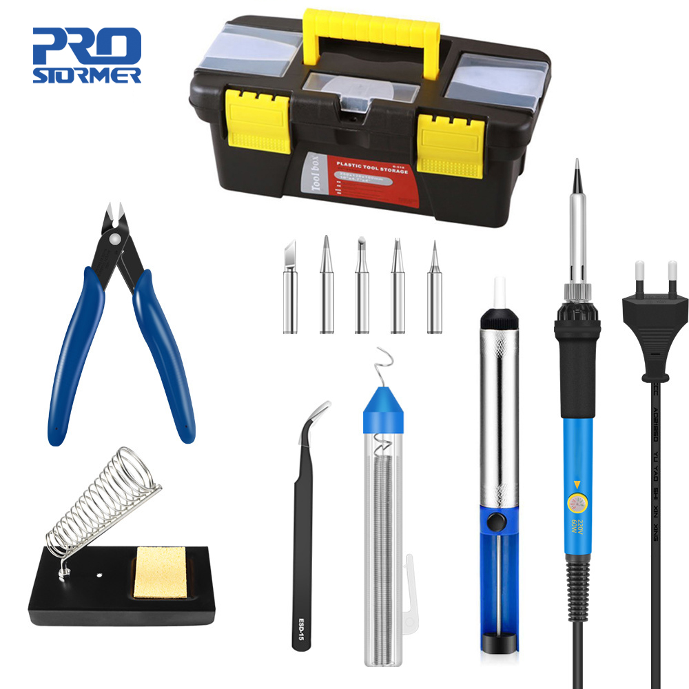 Prostormer Adjustable Temperature Soldering Iron 60W 110/220V Kit Accessories Soldering Circuit Board Repair Kit With Toolbox