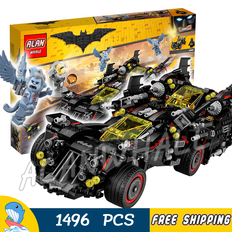 1496pcs Super Heroes Batman Movie The Ultimate Batmobile Set 10740 Model Building Blocks Toys Bricks Moives Compatible With lego compatible with lego batman 70914 model 07081 super heroes bane toxic truck attack figure building blocks bricks toys