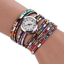 Vintage Womens Watch Bracelet Quartz PU Leather Rhinestone Beads Wrist Watches Ladies Relogio Feminino