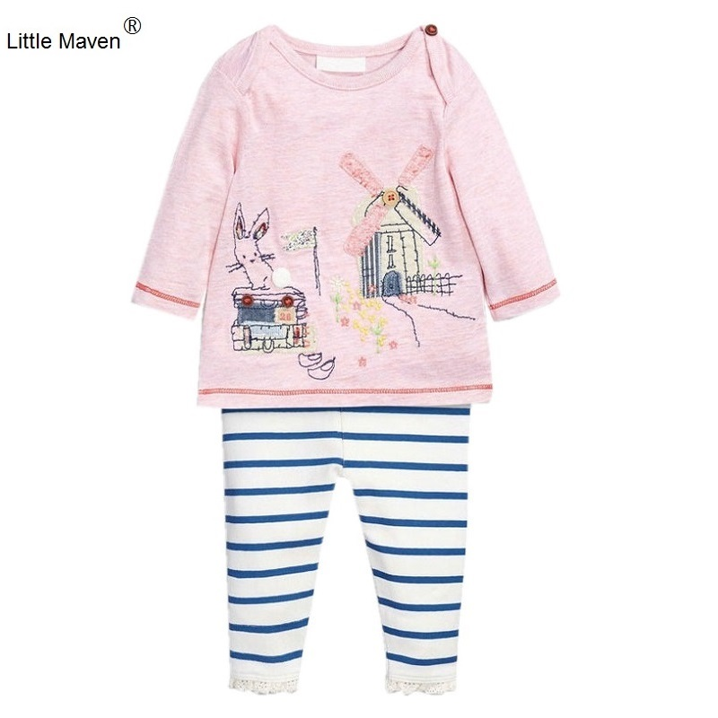 2017 New Little Maven Brand 1-6 Years Cartoon Girl Set Cotton Long Sleeve Pink Sweater+Blue Stripe Pant Children Set KF053 tommy hilfiger new pink stripe long sleeve blouse l $49 5 dbfl