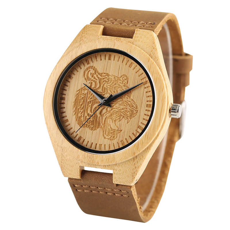 Elegante Hand-made do Couro Genuíno Dos Homens Relógio De Pulso De Madeira Cabeça Do Tigre Selvagem Tatuagem Animais Relógios de Quartzo Retro Teste Padrão Do Vintage