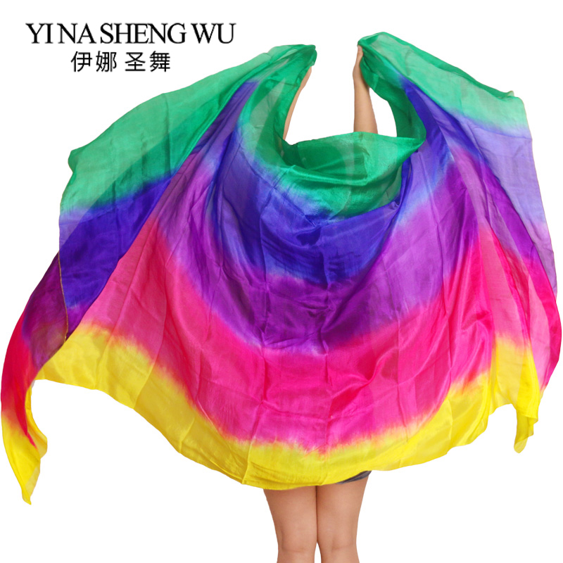 100% Silk Belly Dance Hand Dyed Silk Veil 200/250/270/300 cm Gradient Multi Color Silk Veil Belly Dance Accessories Kid Adult