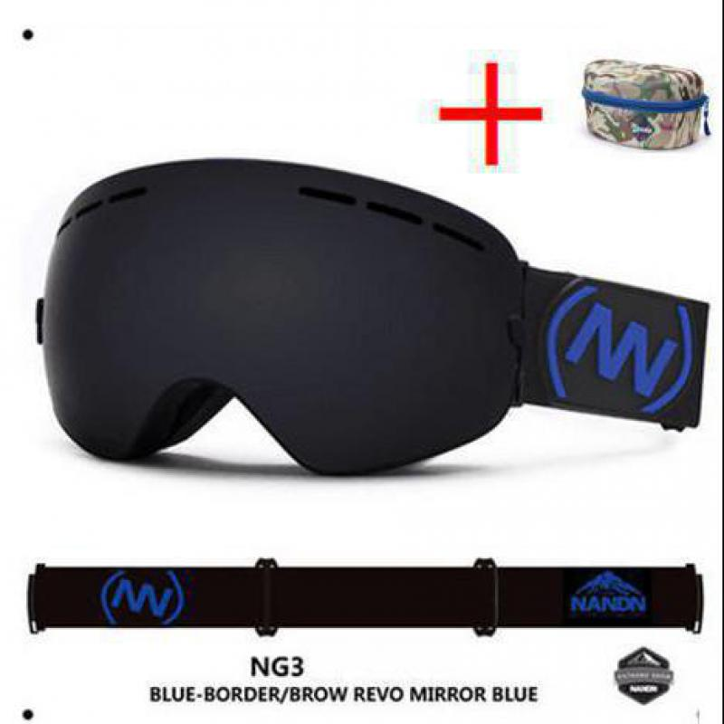 NANDN Double Layer Multicolor Anti Fog Outdoor Sports Goggles Big Motocross Ski Snowboard Professional Glasses Eyewear + Box NG3 polisi men women snowboard ski goggles uv protection anti fog double layer lens esqui snow glasses outdoor sports skate eyewear