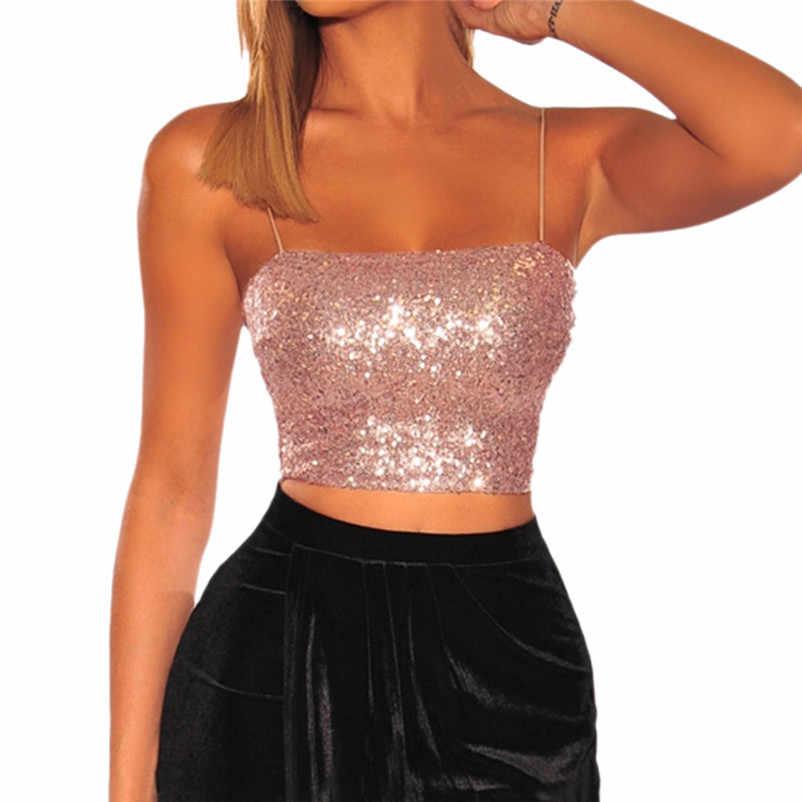 Women Wild Style Off The Shoulder Crop Tops Sequins Strapless Bra Tank Vests  Women fashion summer 227767ba23b9