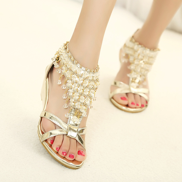 d288938a6f5b 2017 New Summer open toe Rhinestone zipper pearl beaded wedges sandals high  heel sliver Gold size 35-39 fashion shoes women