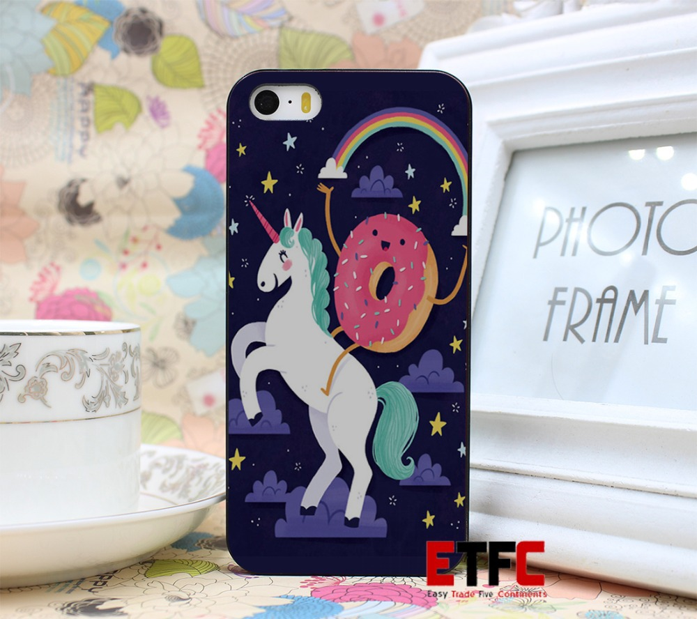 ETFC-178 Unicorn and Donut Friends Funny Girly New Fashion Design Hard Black Skin for iPhone 5 5s 5g Case Cover