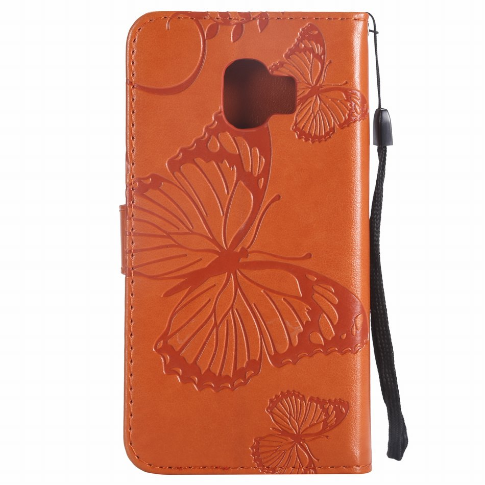 Leather Cases Butterfly Frame For Capa Samsung A6 A7 A8 Plus A9 2018 J2 Core J3 2018 J4 Prime J6 Plus J7 Duo J8 Flip Funda DP06Z in Flip Cases from Cellphones Telecommunications