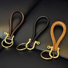 Cowhide Leather Keychain Classic U Buckle Handmade Metal Chaveiro Key Chain Ring Holder Liaveros Porte Clef Portachiavi Chaveiro