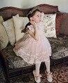 2016 Летом девочки платья с sheer кружева Дети birthday party платье корейский стиль платье партии топ туту платья для возраста 2-7 Лет