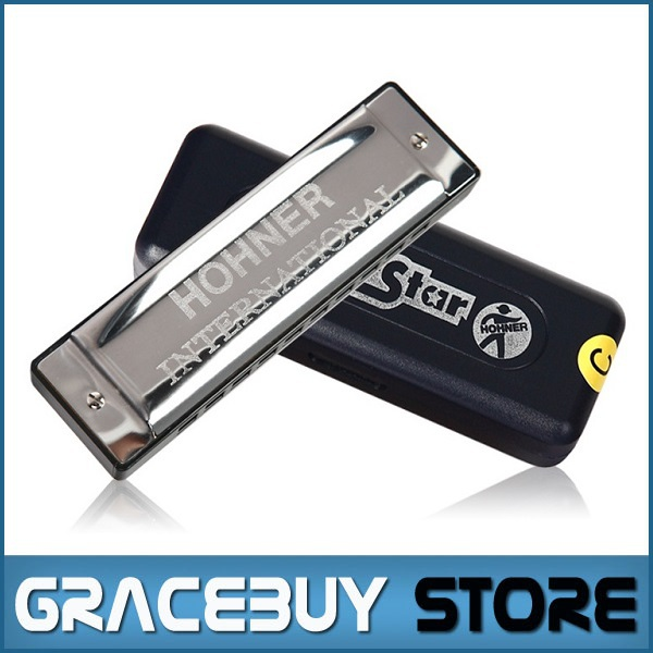 10 Hole Harmonica Hohner International Silver Star Mouth Organ, Diatonic Key C Blues Jazz Band Music Instrument