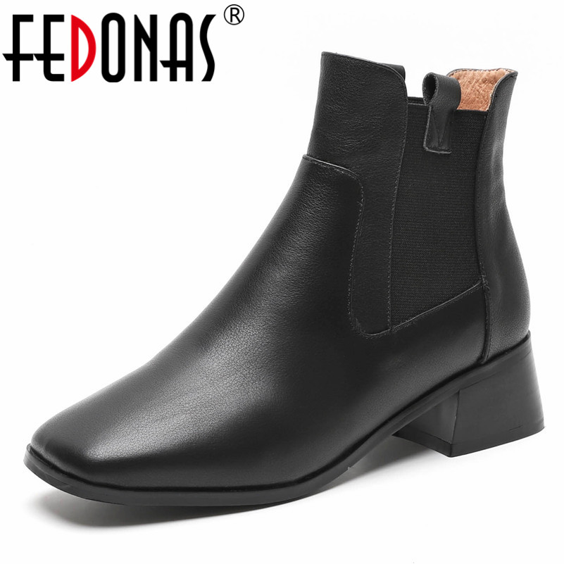 FEDONAS Fashion Brand Women Ankle Boots Genuine Leather Thick High Heels Short Martin Shoes Woman Quality Female Basic Boots high heels female boots shoes 2017 new thick heel ankle boots short martin boots sy 2513