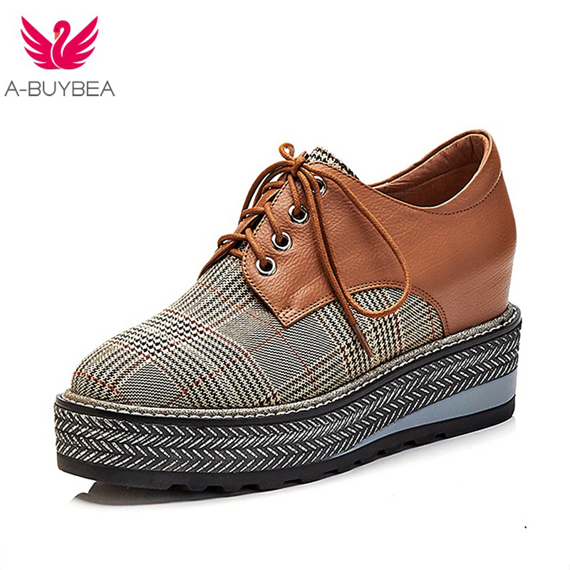 2018 New Spring Fashion Brand Women Platform Shoes Woman Brogue Lace Up Footwear Female Oxford Shoes For Women Casual shoes 2018 new summer women casual shoes lace up woman sneakers breathable flat footwear female mesh shoes fashion dt926