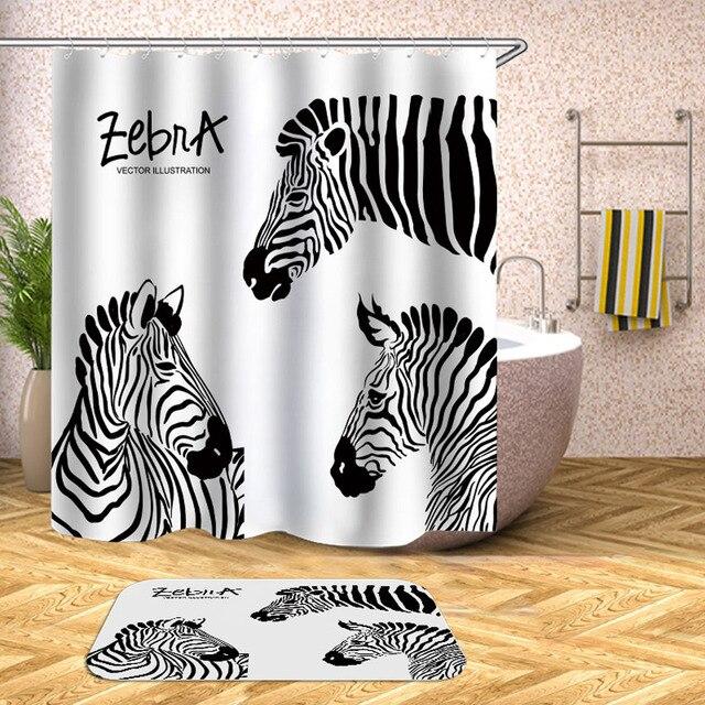 Zebra Shower Curtain Pinto Print Waterproof Bath Curtains For Bathroom Bathtub Bathing Cover Extra Large Wide