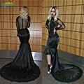 Único negro de la sirena vestidos de baile 2017 sexy manga larga escarpada del cordón de la mascarada dress formal largo vestidos del partido vestidos de noche
