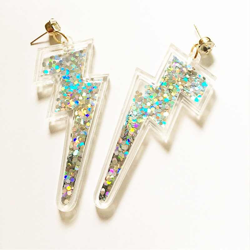 Acrylic Lightning Earrings with Glitter Sequins inside Charming Statement Woman's Jewelry for Party