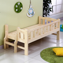 Solid Wood High Quality Children Bed Lengthen Widen Combine Big Baby Crib Single With