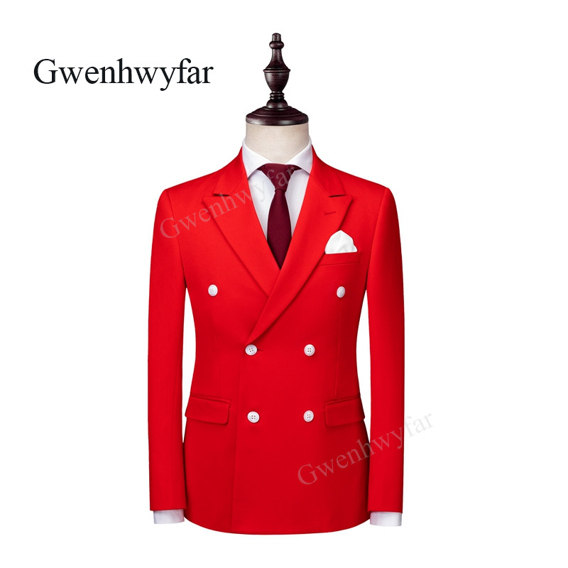 Gwenhwyfar 2018 Autumn New 6 Buttons Groom Bridegroom Wedding Party Tuxedos Bright Red Fashion Men Suits Blazer Pants waistcoat-in Suits from Men's Clothing    2
